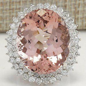 925 Silver White Topaz & Morganite Gemstone Ring
